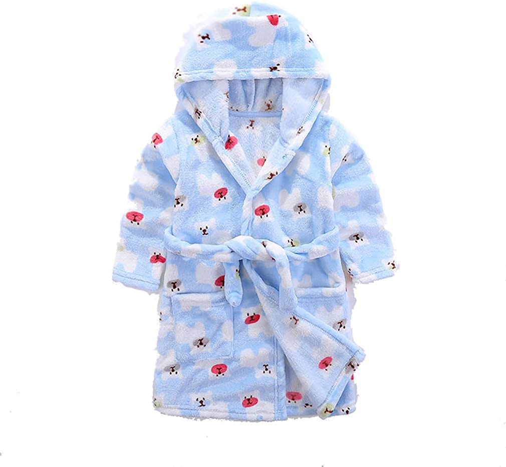 Cow Animal Hooded Bath Robe Towel Soft Flannel Plush Children Pajamas 2t-5t