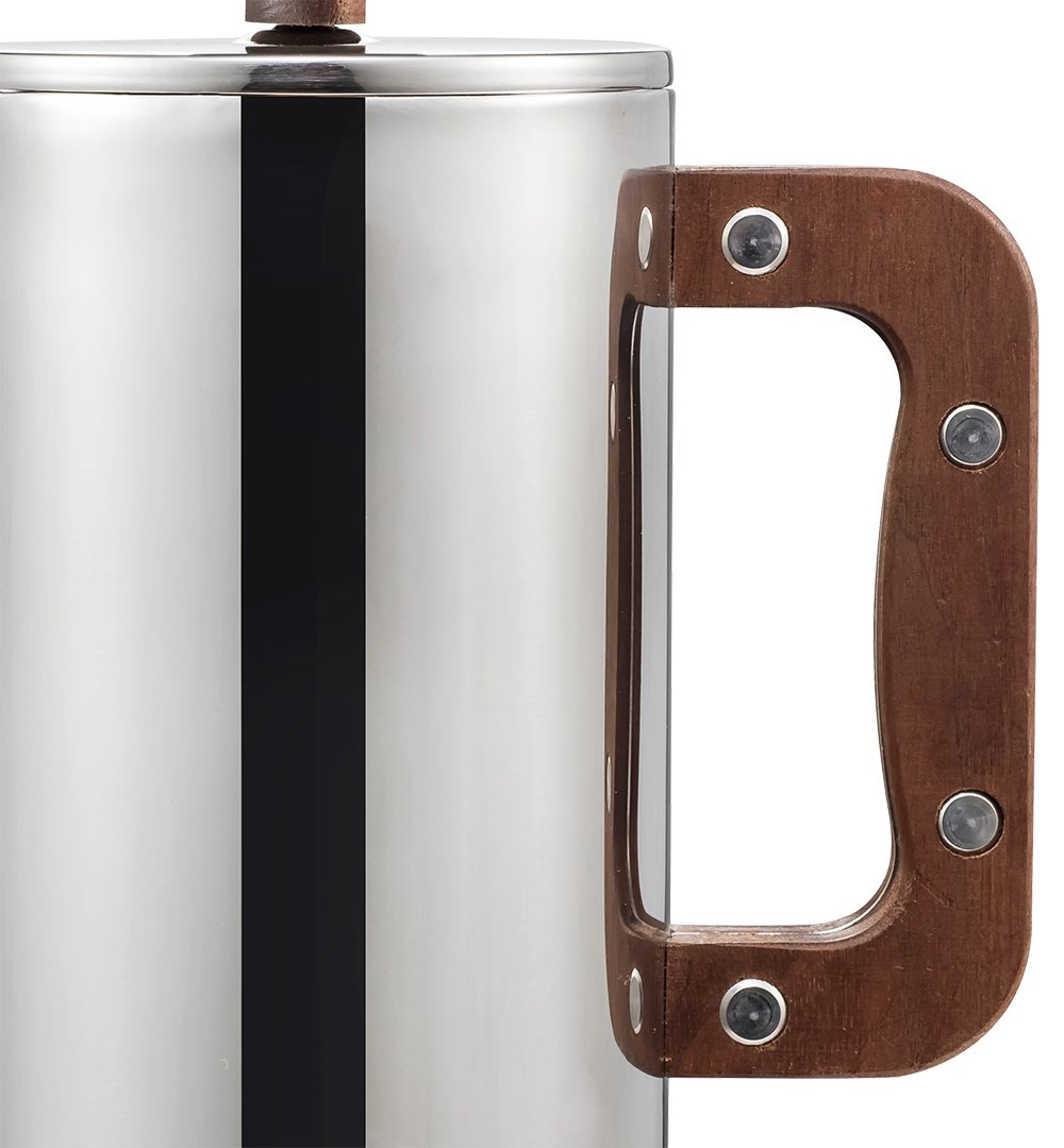 Miuly Stainless Steel French Press With Walnut Handle, Double Walled Insulated Coffee & Tea Maker,(34oz/1L, 8 cup), Bonus with 2 Extra Filter Screens by Miuly (Image #4)