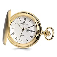 Charles Hubert Gold Finish White Dial Day/Date Pocket Watch 14.5
