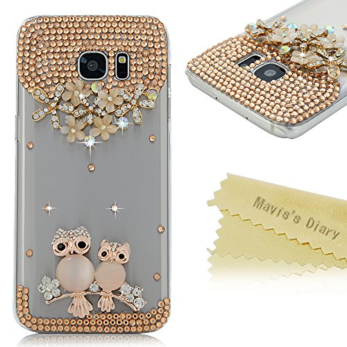 Galaxy S7 Edge Case - Mavis's Diary 3D Handmade Bling Crystal Cute Opal Owls on Branches Golden Flowers with Shiny Glitter Diamond Rhinestone Clear Hard Case for Samsung Galaxy S7 Edge (2016)
