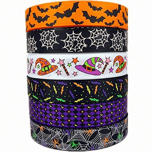 1 30yards (6 Mixed Lot) Halloween Holiday Ribbons Bats Spiders Pattern Printed Grosgrain Ribbon for Hair Bow Halloween Decorative Ribbons (3)
