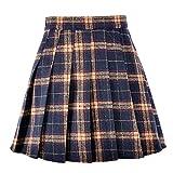 Coswe Girls High Waist Wool Pleated Schoolgirls Mini Skirt (L:Waist 28.34'', Black)