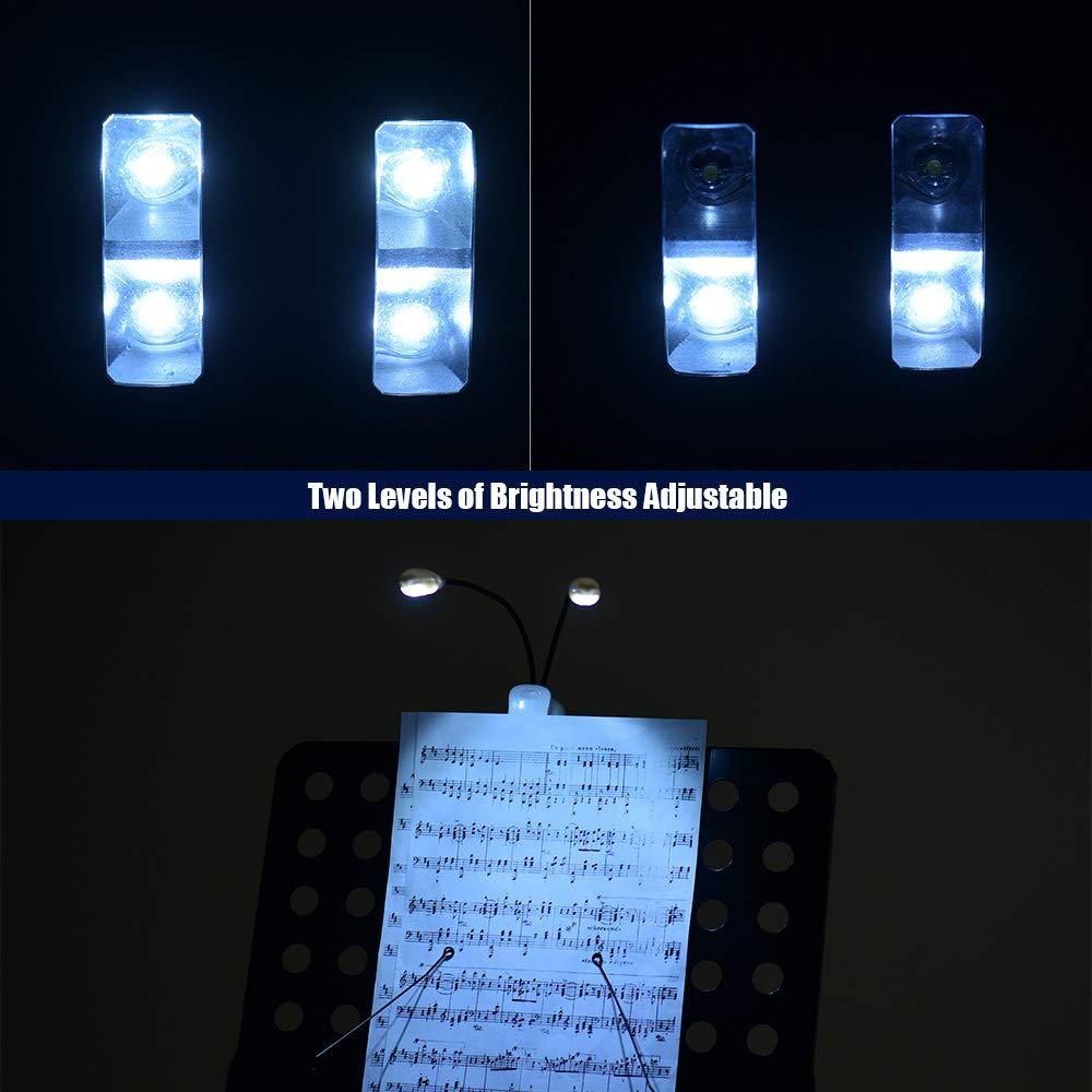 Kalaok Soporte de m/úsica Dual Arms Light Clip LED en luces de lectura L/ámpara protectora para tocar el piano Guitarra Erhu Violin Accesorio de instrumento musical Negro