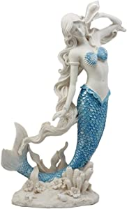 Ebros Gift Aqua Blue Tailed Mermaid Listening to Sconce Figurine 12