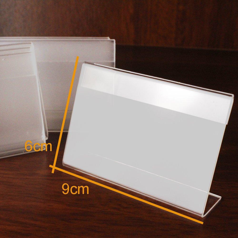Earlywish 20pcs acrylique signe de laffichage Holder Prix Nom Carte /Étiquette Tag stand 9cmx6cm