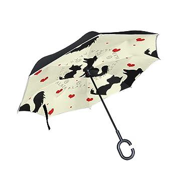 TIZORAX Paraguas Reversible de Doble Capa para Perros y Gatos con asa en Forma de C para Uso en el Coche: Amazon.es: Deportes y aire libre