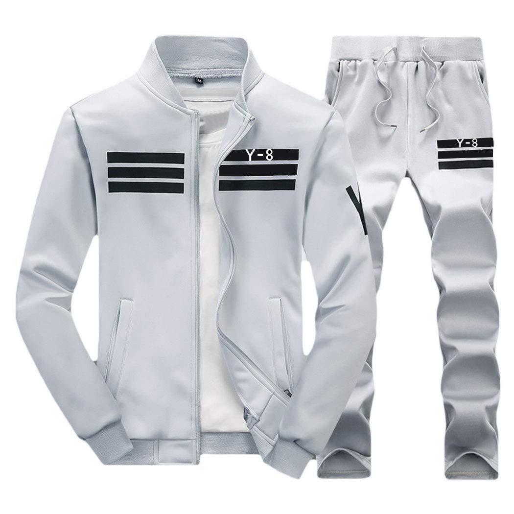 xzbailisha Mens Two Piece Outfit Joggers Long Sleeve Zip-up Jacket Coat & Pant Tracksuit by xzbailisha