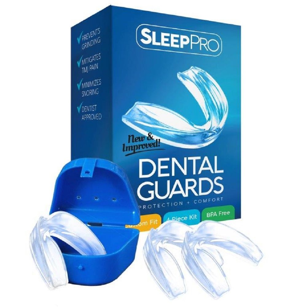 TMJ Mouth Guard for Teeth Grinding and Clenching - Professional Dental Night Guards to Prevent Bruxism - Helps Mouth and Jaw Pain - Dentist Approved - 3 Custom Fit Guards + Antibacterial Case SleepPro