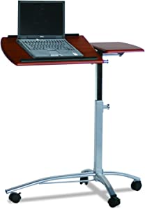 Mayline SOHO Mobile Laptop Caddy with Dual Worksurface, Height Adjustable, Medium Cherry Tf/Metallic Gray Frame
