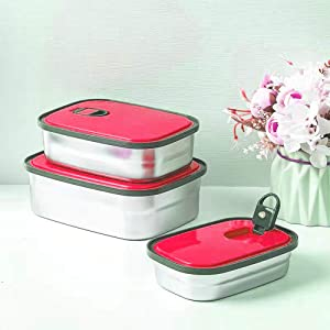 Stainless Steel Food Storage Containers with Lids,Leak Proof Metal Bento Set,Stackable Lunch Boxes,Eco-Friendly BPA-Free,Durable Sandwich Box for Work School Outdoor,Reusable 3 Pack (Pink)