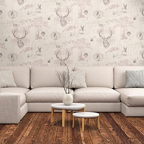 Woodland Heather (Heather and Dove Grey Richmond Highland Stag Wallpaper World of Wallpaper 50165)