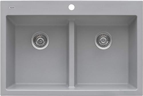 Ruvati 33 x 22 inch epiGranite Dual-Mount Granite Composite Double Bowl Kitchen Sink – Silver Gray – RVG1385GR