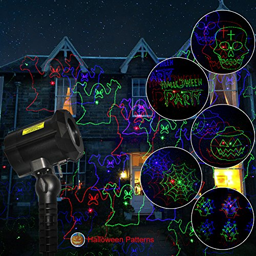 Poeland Garden Laser Lights Projector 18 Festive Designs for Christmas Halloween Blue Green Red 3 Color with Security Lock Remote Timer by Poeland (Image #3)