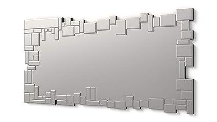 Specchi Moderni Con Cornice.Dekoarte Specchio Moderno Da Parete Decorativo Grande Con Cornice Decorata Con Vetri Su Piani Distinti Argento 140x70 Cm