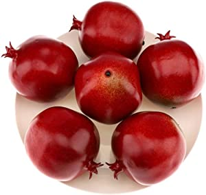 Gresorth 6pcs High Grade Fake Pomegranate Decoration Artificial Realistic Fruit Simulation for Home Party Holiday Christmas Display