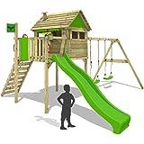 FATMOOSE Aire de jeux FunFactory Fit XXL Maisonnette en bois avec 2 sièges de balançoire et toboggan