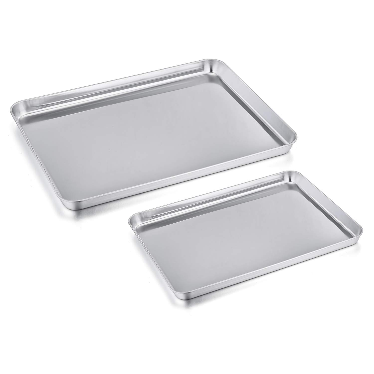 Toaster Oven Pan Tray Set of 2, P&P CHEF Stainless Steel Small Baking Sheets Pans, Rectangle Shape & Deep Rim, Non Toxic & Dishwasher Safe, 12.5 inch & 9 inch (Renewed)
