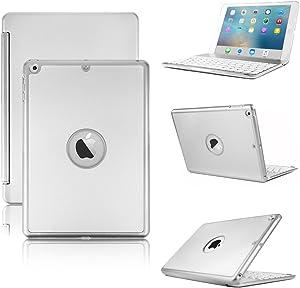 iPad Pro 12.9 inch (2nd Gen 2017) / Pro 12.9 inch (1st Gen 2015) Keyboard Case- Hard Shell Smart Case with 7 Colors Backlit Wireless Keyboard for iPad Pro 12.9 inch 1st/2nd Gen -Silver