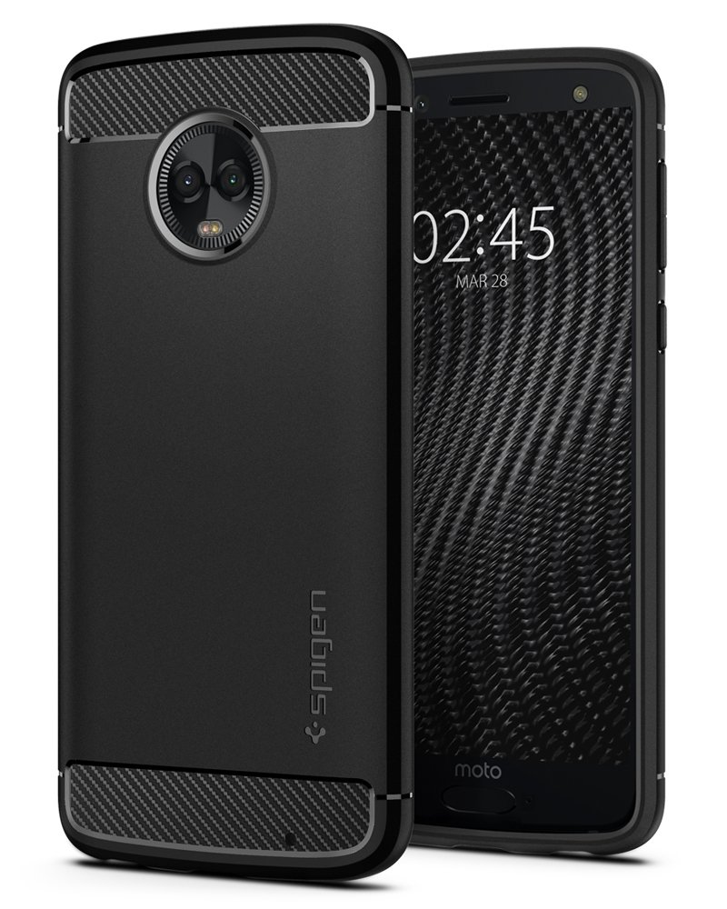 Spigen Rugged Armor Moto G6 Plus Case with Flexible and Durable Shock Absorption with Carbon Fiber Design for Moto G6 Plus (2018) - Black
