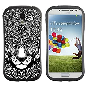 Hybrid Anti-Shock Bumper Case for Samsung Galaxy S4 / Psychedelice Tiger