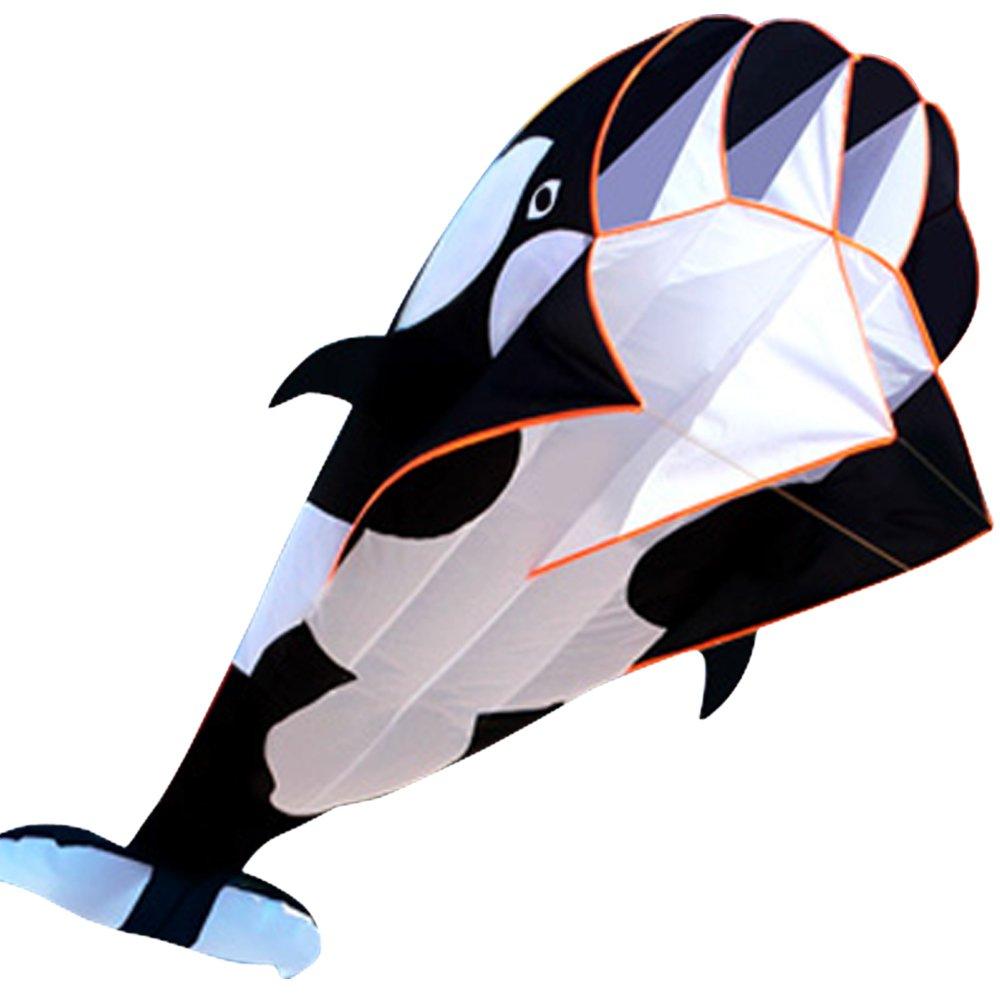 HENGDA KITE-3D Kite Huge Frameless Soft Parafoil Giant Black Dolphin Breeze Kite by HENGDA KITE