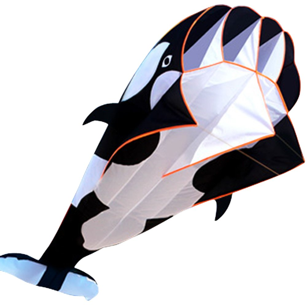 HENGDA KITE-3D Kite Huge Frameless Soft Parafoil Giant Black Dolphin Breeze Kite by HENGDA KITE