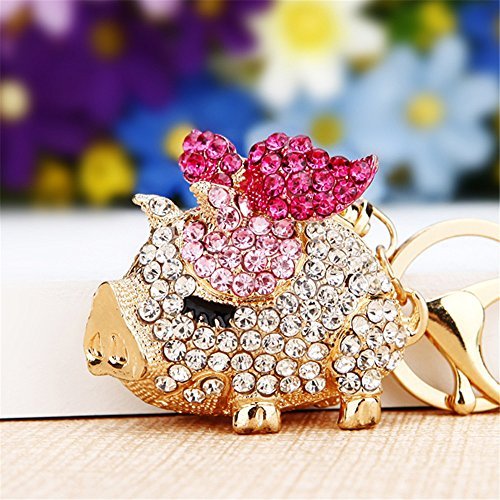 Pretty Sparkling Pig Piggy Keychain Keyring Crystal Rhinestones Purse Pendant Handbag Charm (Pink) -