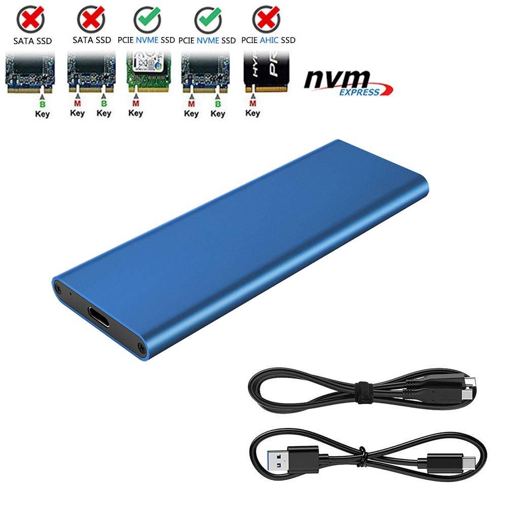 M.2 NVME to USB3.1 Type-C GEN2 10GBPS Enclosure M.2 PCI-E SSD Hard Disk External Drive Box M.2 M-Key SSD to USB-C Adapter (Dark Blue)