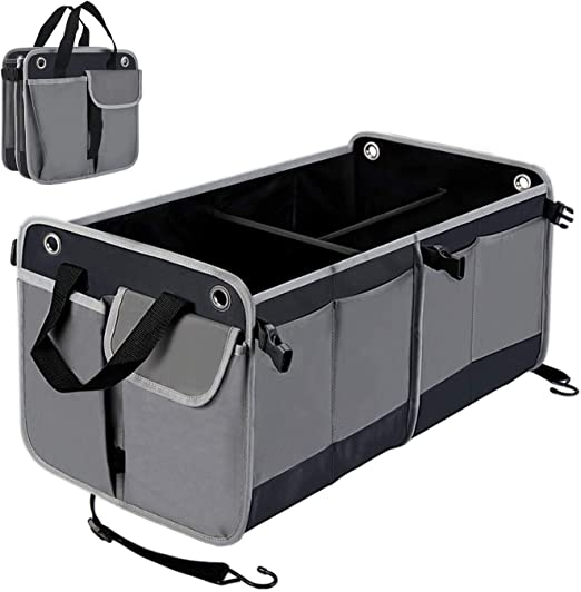 Grey Large Eitchen Foldable Car Trunk Organizer Storage Adjustable Waterproof Collapsible Cargo Storage Fits Any Vehicle