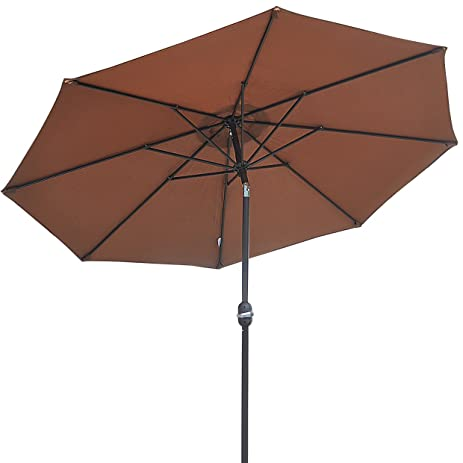 9u0027 PARASOL PATIO NEW GARDEN PATIO UMBRELLA SUNSHADE MARKET OUTDOOR BROWN