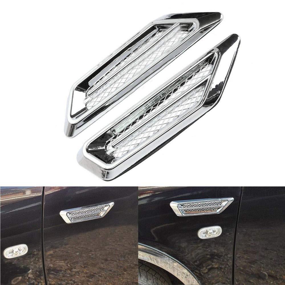 2pcs Plastic Chrome Car SUV Air Flow Fender Side Vent Decor Stickers Accessory