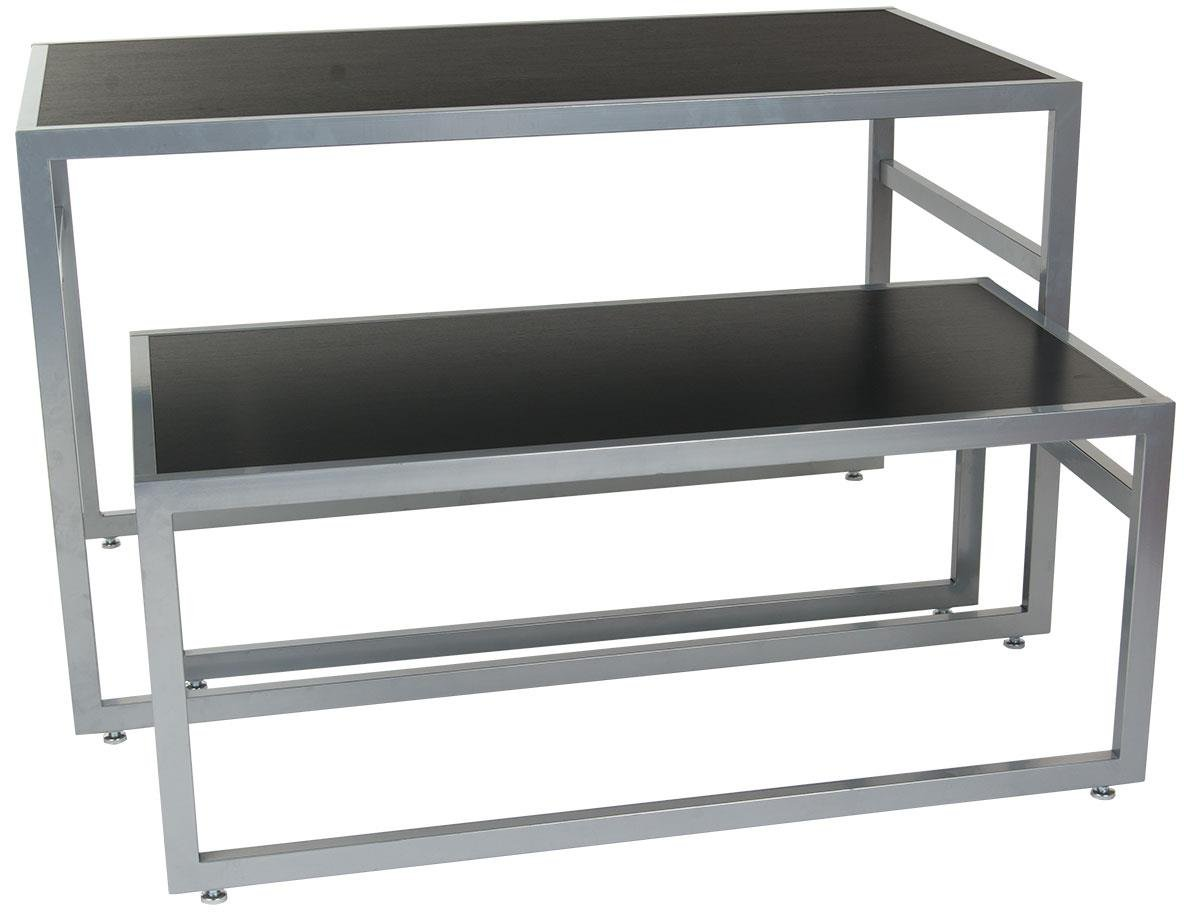 Displays2go 2-Piece Set of Rectangular Nesting Tables, Modern Lines, Steel Frame with MDF Counter (Black) by Displays2go