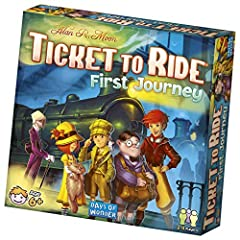 Players of all ages can now venture across America by train in Alan R. Moon's ticket to ride: first journey. With a brand new map and simplified rules, first journey is the perfect way to introduce new players to the game of cross-country tra...
