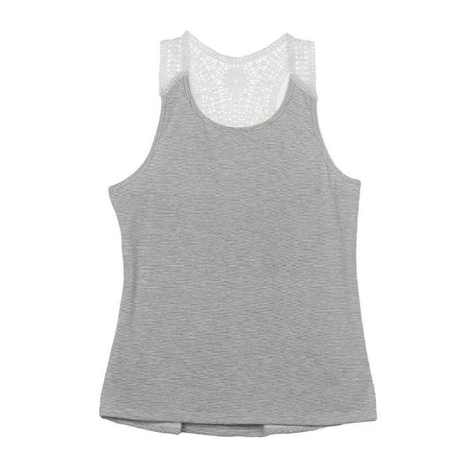 Challeng Top chaleco de encaje de verano de las mujeres camiseta de manga corta top casual chaleco camiseta (3XL, Gris): Amazon.es: Belleza