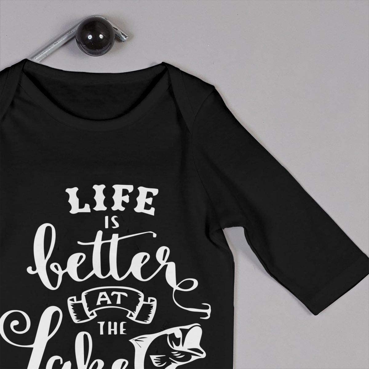 YELTY6F Life is Better at The Lake-1 Printed Newborn Infant Baby Boy Girl Jumpsuit Long Sleeve Rompers Black