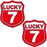 nc-smile 数字 ステッカー タイプA ラッキーナンバー ゼッケン 背番号 SSサイズ 2枚セット (数字 07 SSサイズ, レッド)