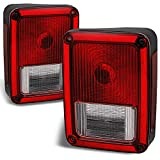 Jeep Wrangler Red Clear Rear Tail Lights Brake Lamps Driver Left + Passenger Right Replacement Pair