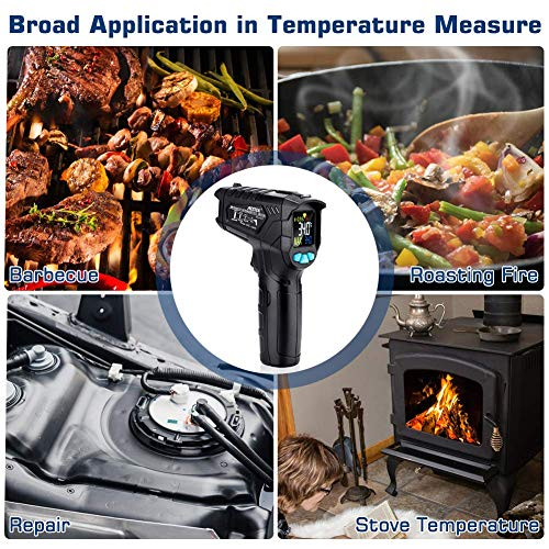 Infrared Thermometer, Non-Contact Digital Laser IR Thermometer Gun -58℉~716℉(-50℃~380℃) Adjustable Emissivity Instant-Read for Kitchen/Cooking/Automotive/Industrial with HD Backlight Color Display by YOUTHINK (Image #4)