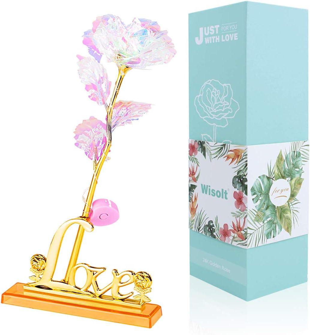 Wisolt 24K Lámina de Oro para Siempre Rosa con luz LED, Soporte de exhibición y Caja de Regalo, niña, Esposa, mamá, cumpleaños, día de San Valentín, día de la Madre