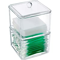 Kryllic Qtip Holder, Cotton Ball Swab Pad Dispenser Holder, Apothecary Jars. 2 Stackable Clear Container with Lid…