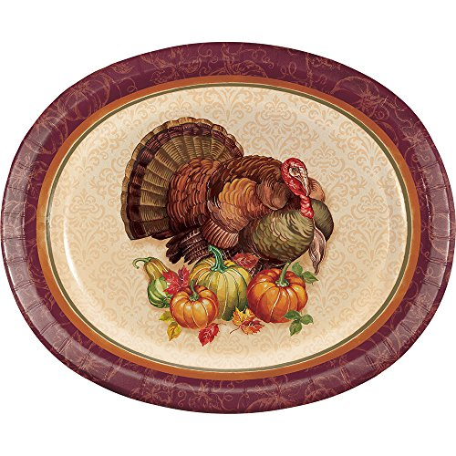 Creative Converting 331996case Thanksgiving Turkey Oval Plates, One Size, Multicolor -