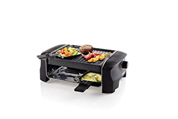 Princess Parrilla 162800 Grill Party Raclette, 600 W, acero inoxidable, 4 personas, color negro