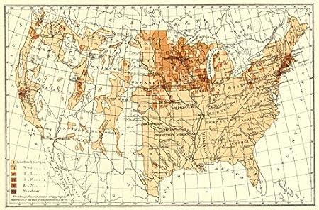 Map Of Uk 1900.Usa Density Of Scandinavians 1900 Map Amazon Co Uk Kitchen Home