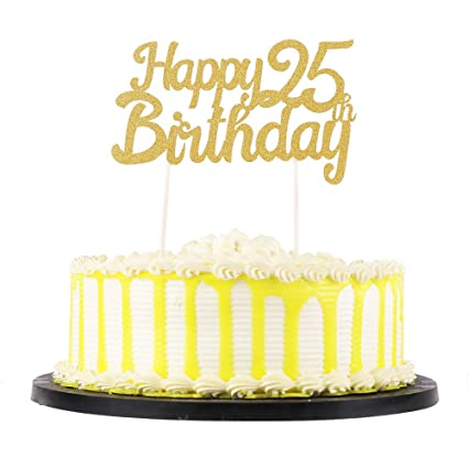 Image Unavailable Not Available For Color PALASASA Gold Glitter Happy Birthday 25th Cake Topper Decoration