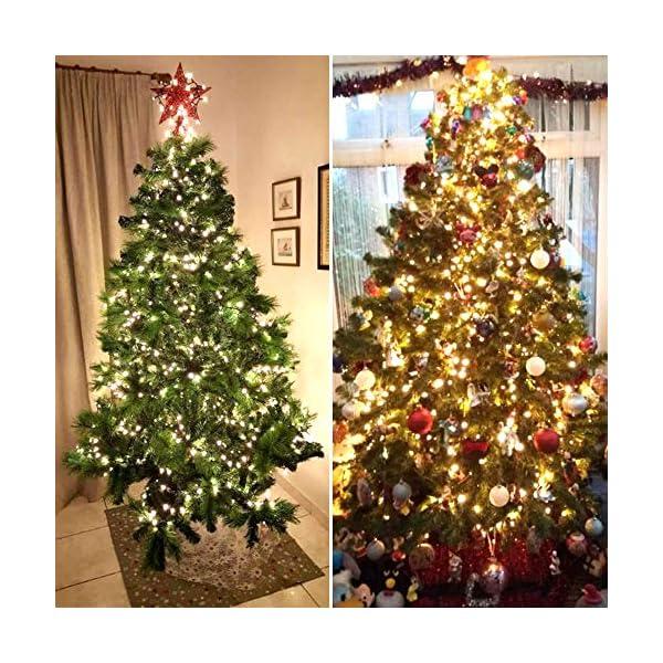 ANSIO Luci natalizie per interni e esterno 1000 LED albero luci Bianco Caldo, 8 modalità con memoria e funzione timer, alimentate, trasformatore incluso 25m Lunghezza illuminata- CAVO VERDE 5 spesavip