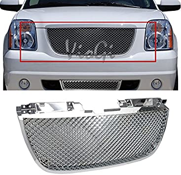 VioGi 1pc Chrome Strong ABS Plastic Badgeless Mesh Style Front Main Upper Grille Fit 07-14 GMC Yukon Base//SLE//SLT//Denali Only 07-14 GMC Yukon XL 1500//2500 SLE//SLT//Denali Only