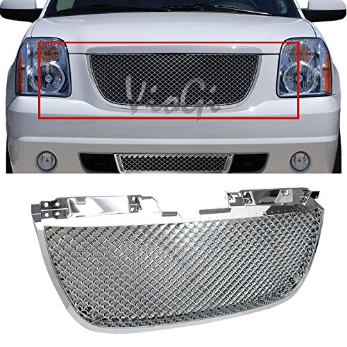 VIOJI 1pc Chrome Strong ABS Plastic Badgeless Mesh Style Front Main Upper Grille Fit 07-14 GMC Yukon Base SLE SLT Denali Only 07-14 GMC Yukon XL 1500 2500 SLE SLT Denali Only ()