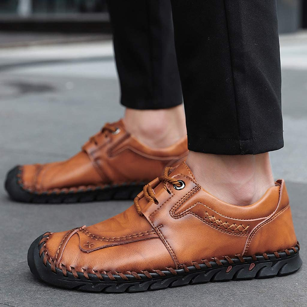 Men Retro Non-Slip Wear-Resistant Lace-Up Leather Shoes Old Style Daily Casual Lazy Driving Shoes