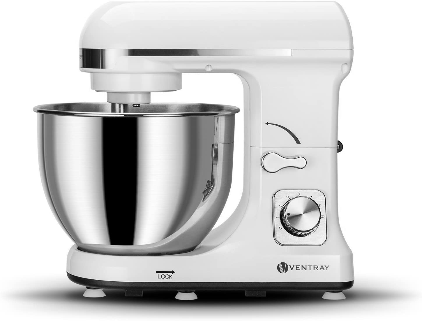 Ventray Stand Mixer 6-Speed 4.5-Quart Stainless Steel Bowl with Pouring Shield – White