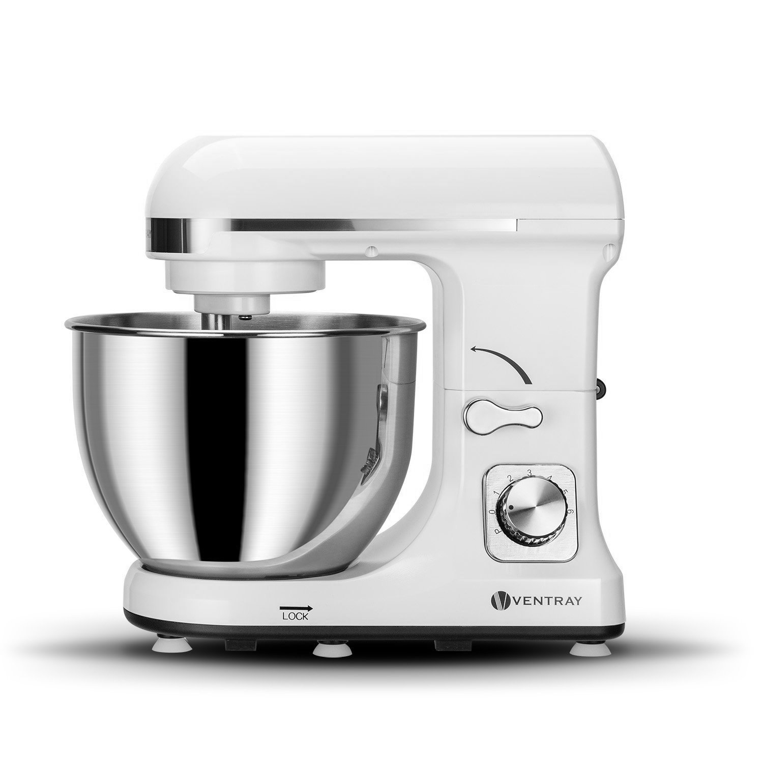 Ventray Stand Mixer 6-Speed 4.5-Quart Stainless Steel Bowl with Pouring Shield - White
